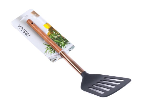 ЛОПАТКА КУХОННАЯ пластмассовая с прорезями термостойкая с деревянной ручкой 33 см (арт. 686243-285, код 176939)