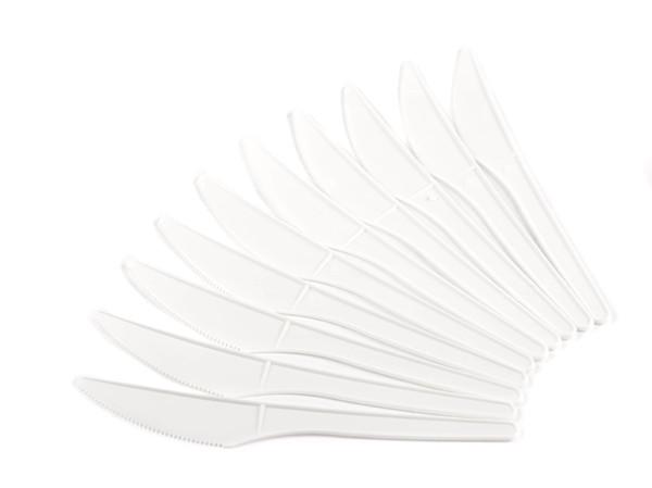 НАБОР НОЖЕЙ ОДНОРАЗОВЫХ пластмассовых белых 10 шт. 16 см (арт. 0233Ш, код 047215)