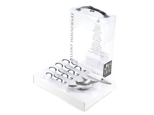 НАБОР СТОЛОВЫХ ПРИБОРОВ металлических с пластмассовыми ручками 24 пр.: 6 вилок 19 см, 6 ножей 21,5/11 см, 12 ложек 18,5/14,5 см (код 102065)
