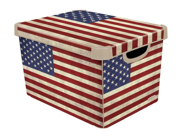 """КОРОБКА пластмассовая """"Usa flag"""" L 39*29*23 см (арт. 213240, код 712963)"""