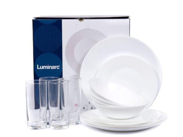 "НАБОР ПОСУДЫ стеклокерамика/стекло ""Essence white"" 16 пр.: 8 тарелок 19,6/25 см, 4 салатника 17 см, 4 стакана 270 мл (арт. N4753, код 198580)"