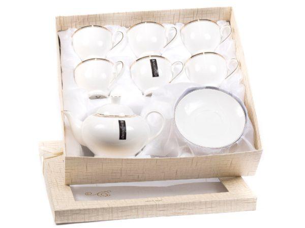 ЧАЙНЫЙ НАБОР фарфоровый 13 пр.: чайник заварочный, 6 чашек с блюдцами 220 мл (арт. 101-01023, код 425010)