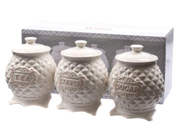 НАБОР БАНОК ДЛЯ СЫПУЧИХ ПРОДУКТОВ керамических 3 шт. 800 мл/14 см (арт. HC1810042-5.5, код 194612)