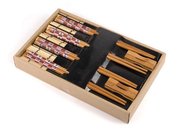 НАБОР ДЛЯ СУШИ 12 пр.: 4 пары палочек для еды, 4 подставки для палочек, 4 подставки бамбук. (арт. MY121139, код 059201)
