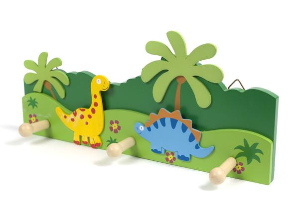 """ВЕШАЛКА НАСТЕННАЯ деревянная 3 крючка """"Динозавры"""" 33*15 см (арт. MF-5012A, код 068715)"""