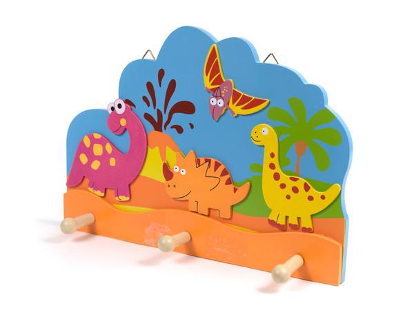 """ВЕШАЛКА НАСТЕННАЯ деревянная 3 крючка """"Динозавры"""" 33*23 см (арт. MF-5012B, код 068722)"""