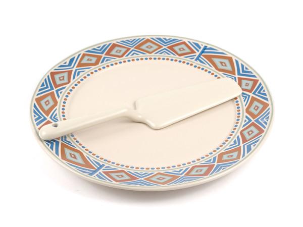 НАБОР ДЛЯ ТОРТА керамический 2 пр.: блюдо 27 см, лопатка (арт. KR-KR-SCP011-1056, код 085101)