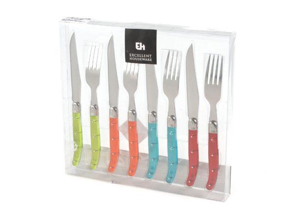 НАБОР СТОЛОВЫХ ПРИБОРОВ металлических с пластмассовыми ручками 8 пр.: 4 вилки 20 см, 4 ножа 21,5 см (код 015373)