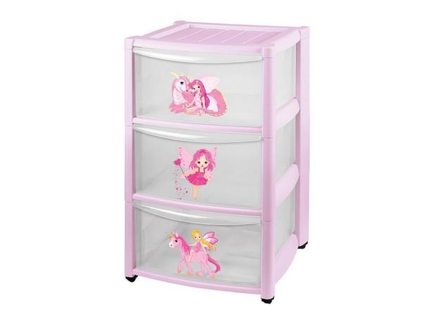 КОМОД пластмассовый детский с 3-мя выдвижными ящиками розовый 37*39*60 см (арт. 431342805, код 190873)