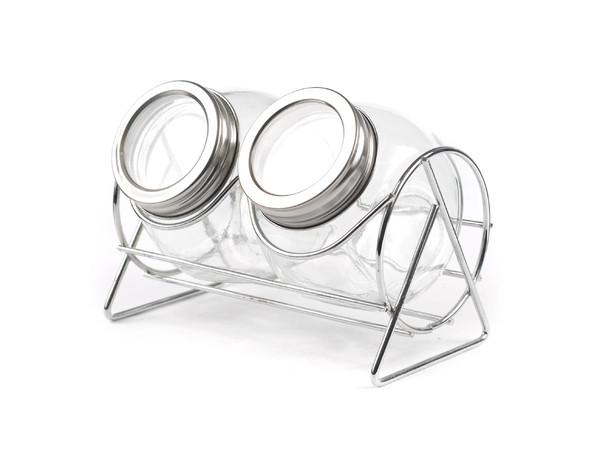 НАБОР БАНОЧЕК ДЛЯ СПЕЦИЙ стеклянных 2 шт. 200 мл на металлической подставке (арт. 823031, код 230319)