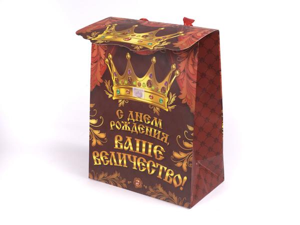 """ПАКЕТ ДЛЯ ПОДАРКОВ бумажный """"С Днем Рождения, Ваше Величество!"""" 18*23*10 см (арт. 10367434, код 091829)"""