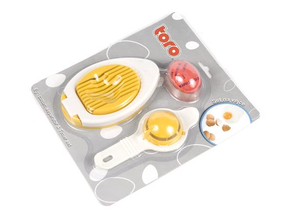 НАБОР КУХОННЫЙ пластмассовый 3 пр.: яйцерезка, сепаратор, таймер для варки яиц (арт. 263570)